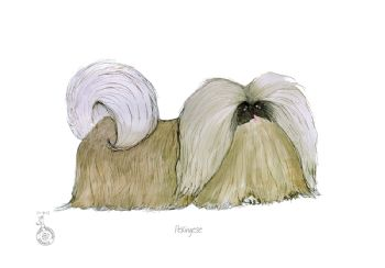 Fun Dog Cartoon Print - Pekingese